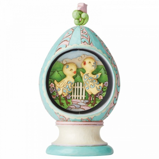 Jim Shore Heartwood Creek Revolving Egg with Bunnies and Chicks Scene Figurine