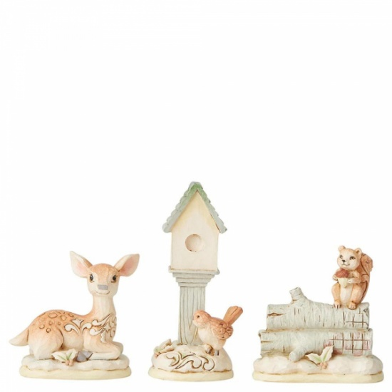 Jim Shore White Woodland Mini Accessory Set of 3 - Birdhouse, Deer and Squirrel