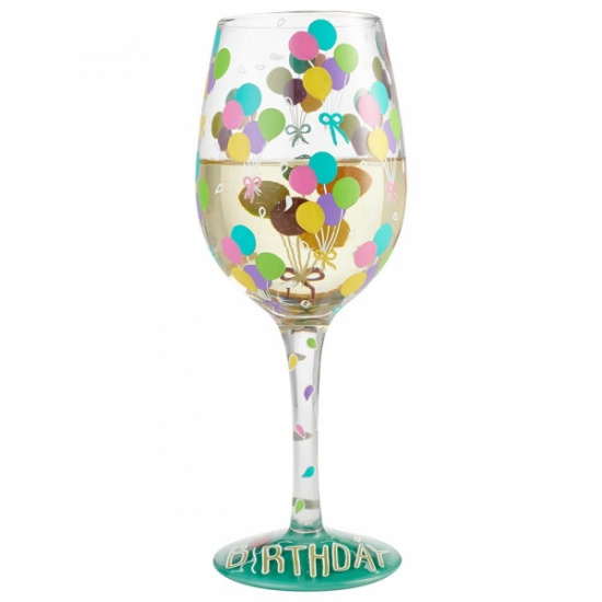 Lolita Birthday Balloons Wine Glass - Gift Boxed