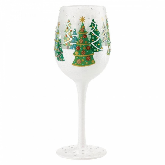 Lolita Christmas Trees in the Snow Wine Glass - Gift Boxed