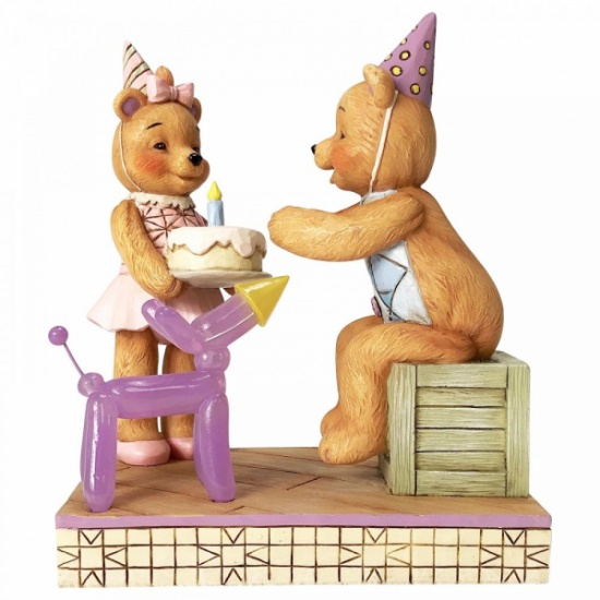 Button and Squeaky Jim Shore Make A Wish Button & Pinky Happy Birthday Figurine
