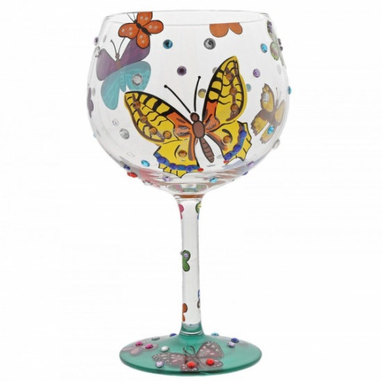 Lolita Butterflies Cocktail Collection Glass - Beautiful Hand Painted Gift