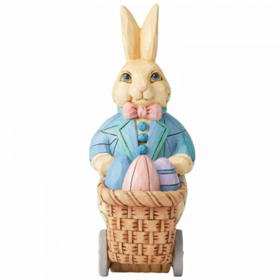 Jim Shore - Heartwood Creek Eggs for Everybunny Bunny Pushing Cart of Eggs Figurine
