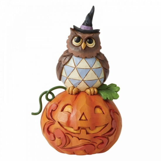 Jim Shore Jack-o-Lantern and Owl Mini Figurine