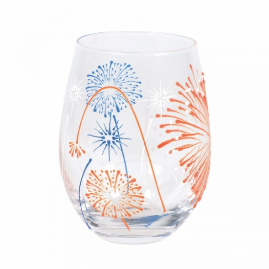Izzy and Oliver Fireworks Large Stemless Hand Decorated Novelty Glass