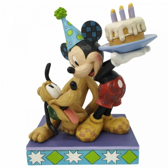 Disney Traditions Pluto and Mickey Birthday Figurine