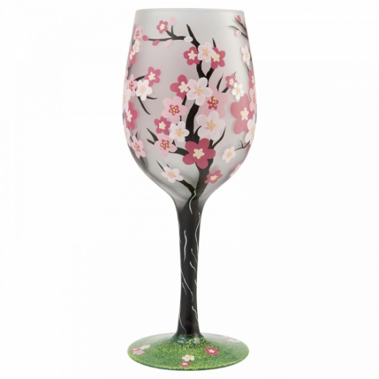 Lolita Cherry Blossom Hand Painted Wine Glass Gift Boxed