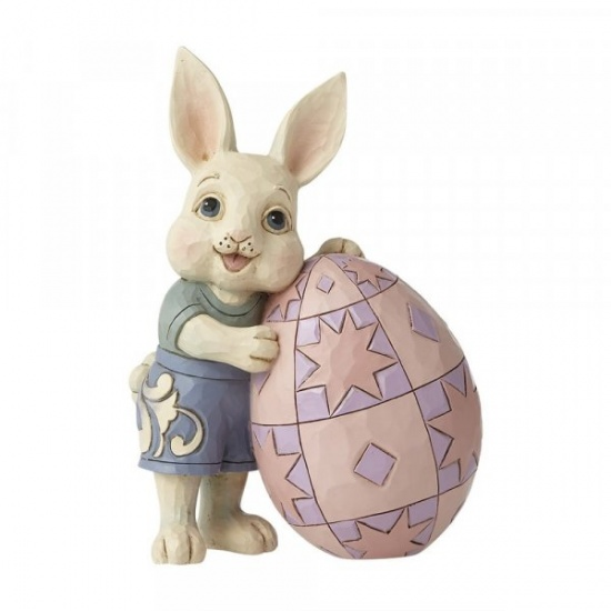 Jim Shore Heartwood Creek Easter Pint Sized Boy Bunny Leaning on Egg