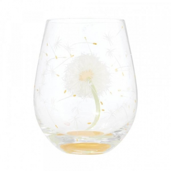 Lolita Lolita Stemless Hand Painted Dandelion Wish Glass - Gift Boxed