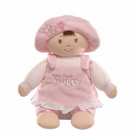 Baby Gund My 1st Dolly Brunette Pink Dress Doll Plush Toy - Baby's 1st Doll