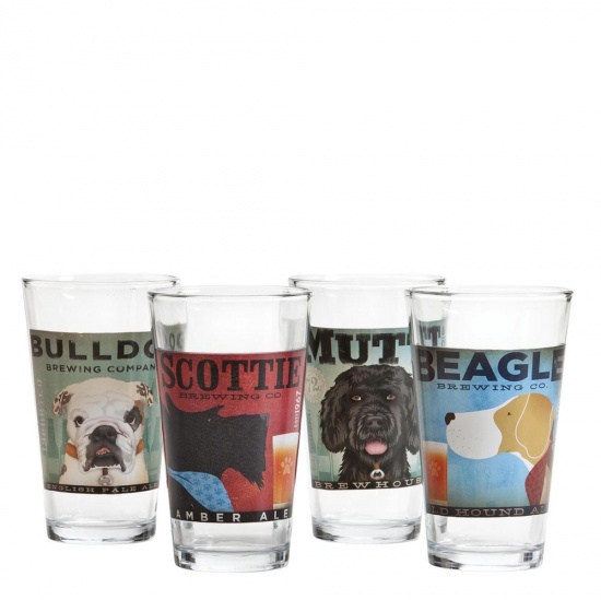 Dogs Rock Brewing Co. Pint Glasses - Set of 4 Dog Design Glasses