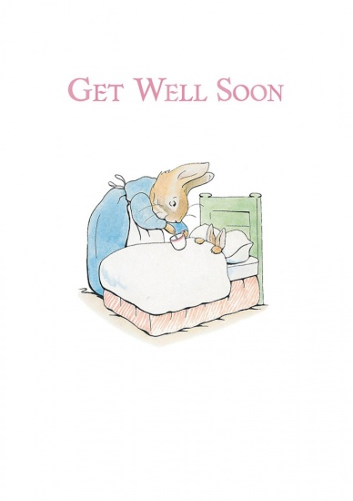 Beatrix Potter Mrs Rabbit & Peter Get Well Soon Greeting Card