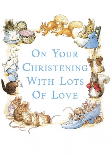 Beatrix Potter On Your Christening Day with Love Boys Greeting Card