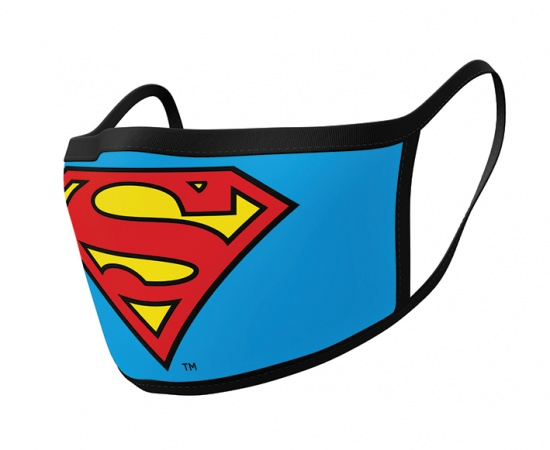 Superman Logo Face Mask Covering Pack of 2 Washable Reusable Breathable Cotton - Officially Licensed