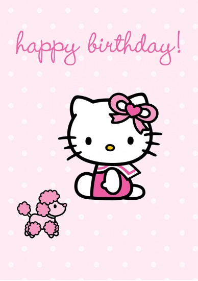 Hello Kitty Pink Poodle Happy Birthday - Greeting Card