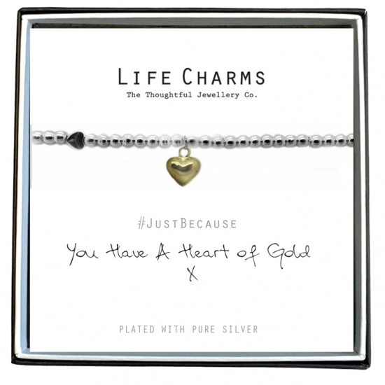You Have A Heart Of Gold  - Silver Plated Bracelet - Life Charms