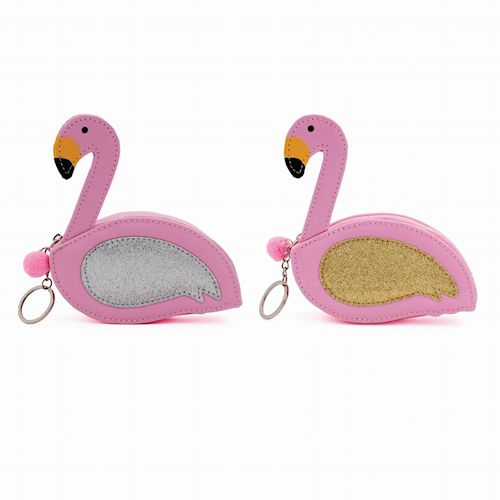 Pink flamingo Keyring Zip Purse