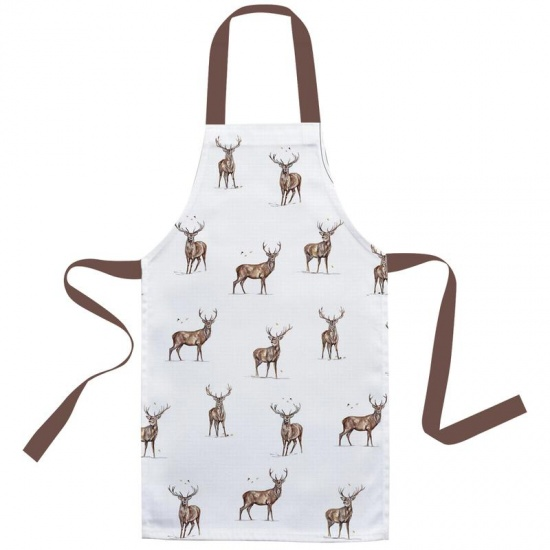 Winter Stag Adult Cotton Apron - Lovely Printed Stags Design