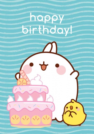 Molang Happy Birthday Cake - Greeting Card