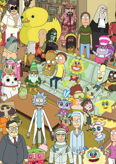Rick and Morty Characters Crowd - Greeting Card