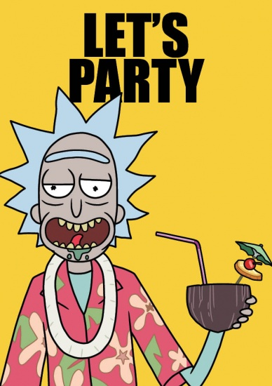 Rick and Morty Let's Party - Greeting Card