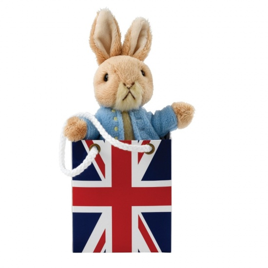 Beatrix Potter Plush Peter Rabbit toy in Union Jack Gift Bag