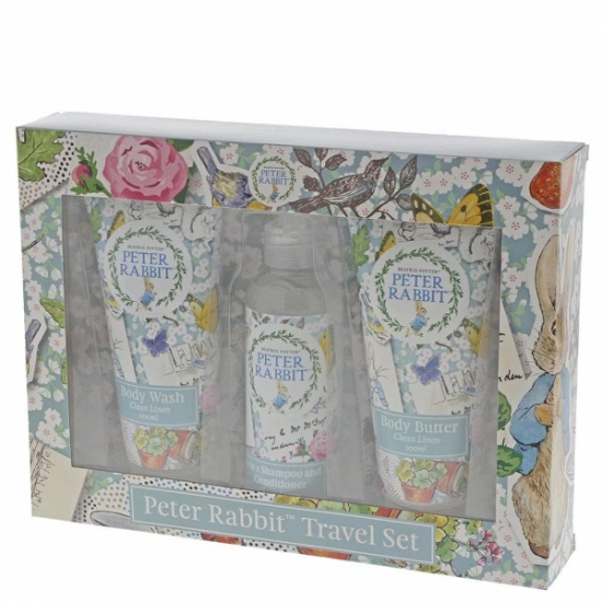 Peter Rabbit Clean Linen Trio Travel Beauty Gift Set - Body Wash, Body Butter, Shampoo & Conditioner