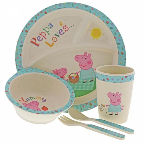 Peppa Pig Organic Bamboo 5 pc Dinner Set