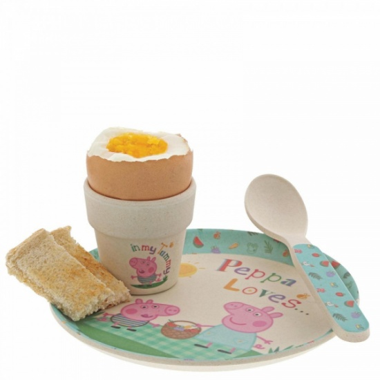 Peppa Pig Organic Bamboo Egg Cup Dinner Set