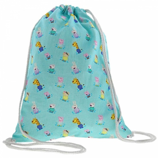 Peppa Pig Collection - Peppa Pig and Friends Print Cotton PE Swim Drawstring Bag