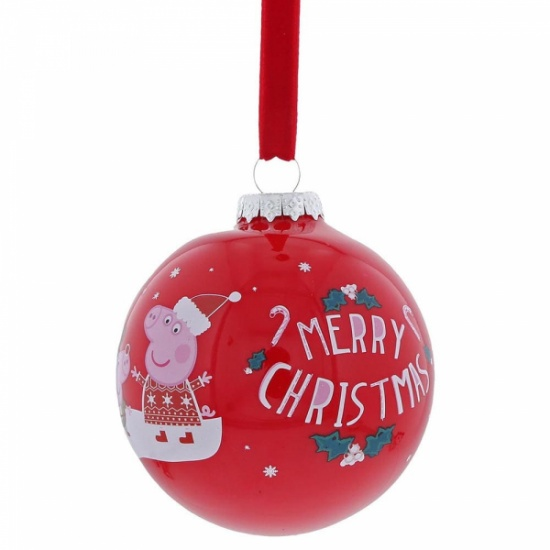 Peppa Pig Red Merry Christmas Tree Bauble