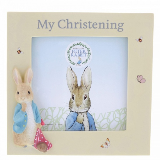 Peter Rabbit Christening Photo Frame - Holds 4 x 4'' photo Beatrix Potter