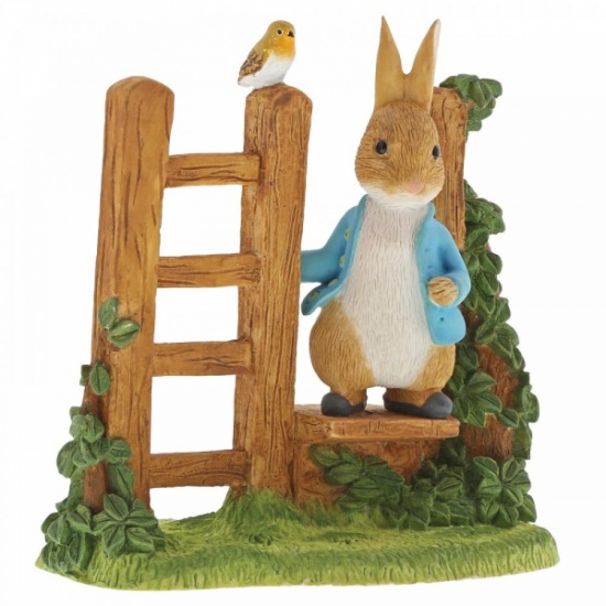 Beatrix Potter Peter Rabbit Wooden Stile with Robin Figurine Figurine Ornament