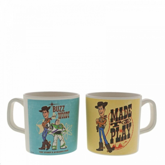 Disney Toy Story 4 Organic Bamboo Woody and Buzz Mug Set