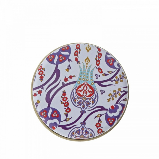 Myros traditional massage soap in a tin Blue & Red Floral Trellis with Olive Soap