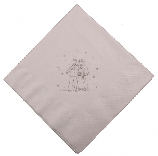 Bride & Groom White Wedding Napkins