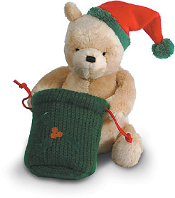 Christmas Winnie the Pooh with Green sack - Gund