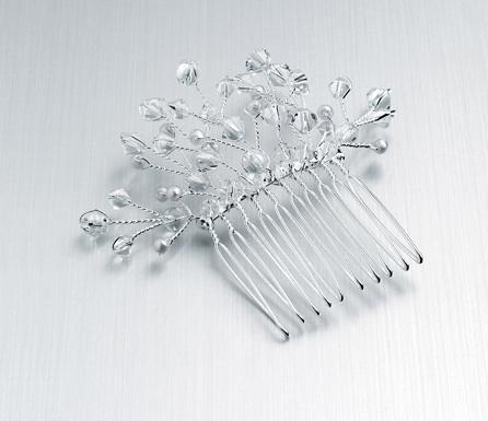 Clear Glass Bead & Pearl Spray Hair Comb