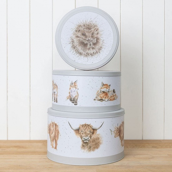 Wrendale Designs Set of 3 Cake Tins Highland Cow, Fox Hedghog