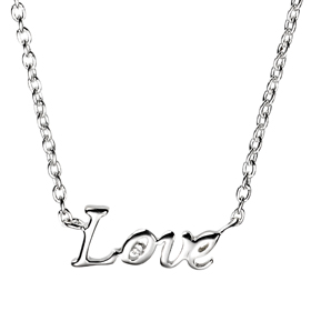 D For Diamond - Silver 'Love' Necklace