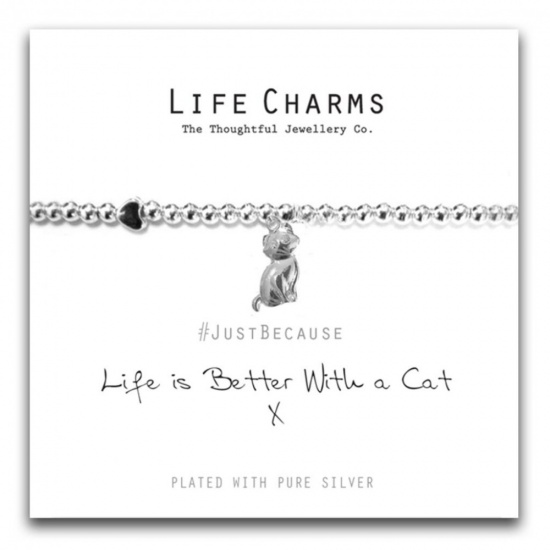 Life is Better With A Cat  - Silver Plated Bracelet - Life Charms