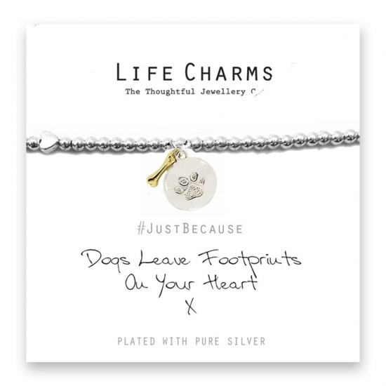 Dogs Leave Footprints on Your Heart  - Silver Plated Bracelet - Life Charms