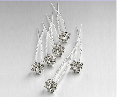 Diamante Flower Hairpins (Pack of 6)
