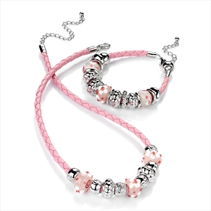 Pink Leatherette with Charms Necklace and Bracelet Set