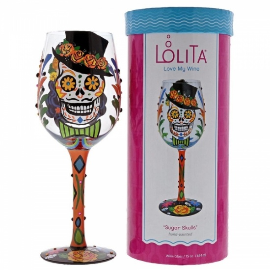 Lolita Sugar Skulls Wine Glass - Gift Boxed