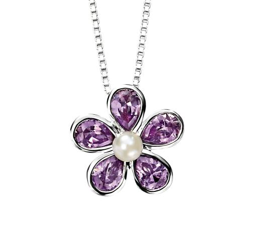 Sterling Silver, Pearl and Amethyst Flower Pendant and Chain