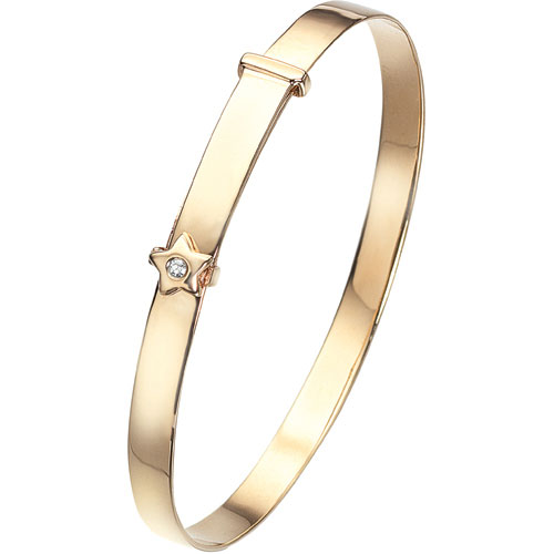 9 Carat Gold D For Diamond Adjustable Star Baby Bangle