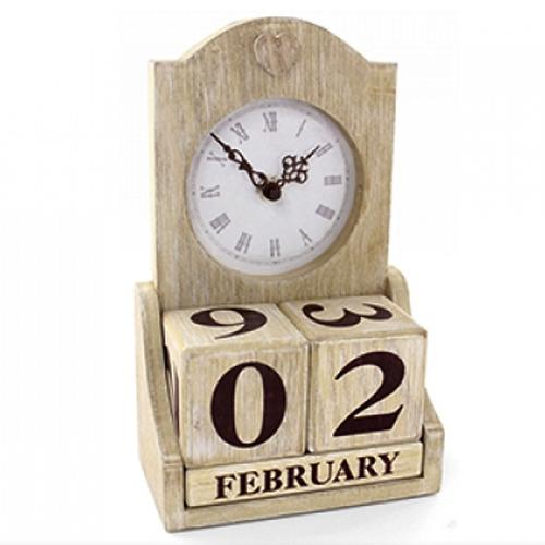Shabby Chic Natural Wooden Clock Perpetual Calendar Desk Accessory