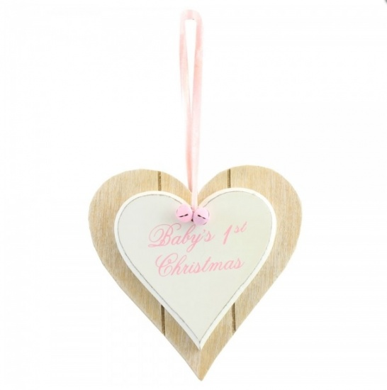 Baby's 1st Christmas Heart Plaque - Baby Girl Pink