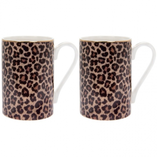 Wildside Leopard Print Set of 2 Fine China Mugs - Gift Boxed